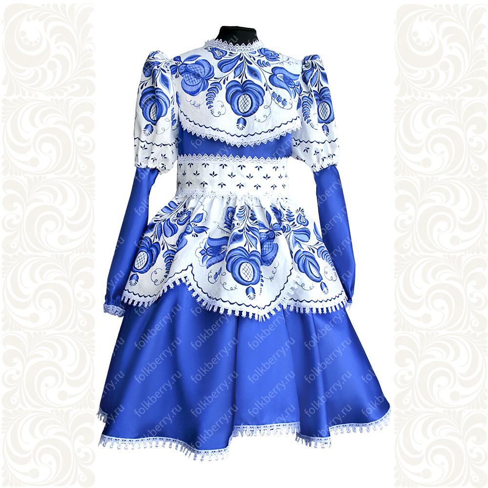 Платье Гжель-1, лен атлас- фото 1