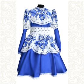 Платье лен атлас, Гжель-1