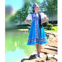 Платье габардин, Гжель-2