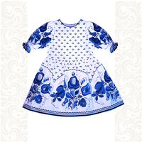 Платье лен, Гжель-3