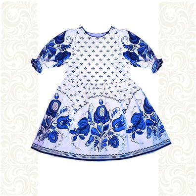 Платье лен, Гжель-3- фото 1