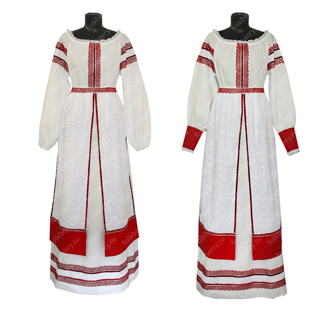 Комплект Торжественный день, лен, платье + юбка-понева- фото 1
