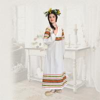 Платье Полюшко, лен, белое