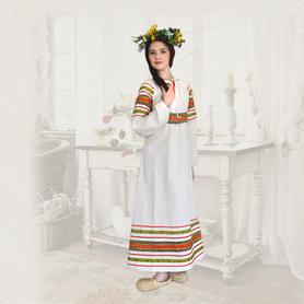 Платье Полюшко, лен, белое- фото 1