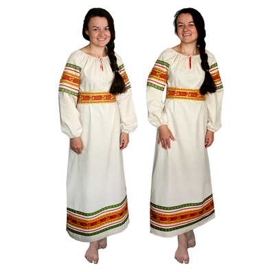 Платье Полюшко, лен, небеленый лен- фото 1