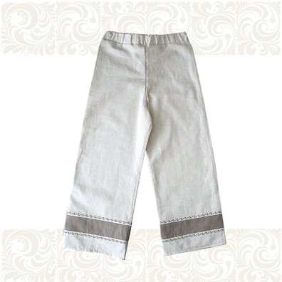Порты (лен) для мальчиков, небеленый лен с вышивкой- фото 1