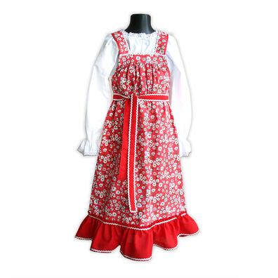 Сарафан с блузой Дуняша, хлопок, красный- фото 1