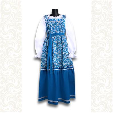 Сарафан с блузой Дуняша, хлопок, синий- фото 1