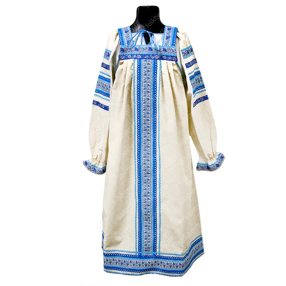 Сарафан с блузой Голуба, лен, женский- фото 1